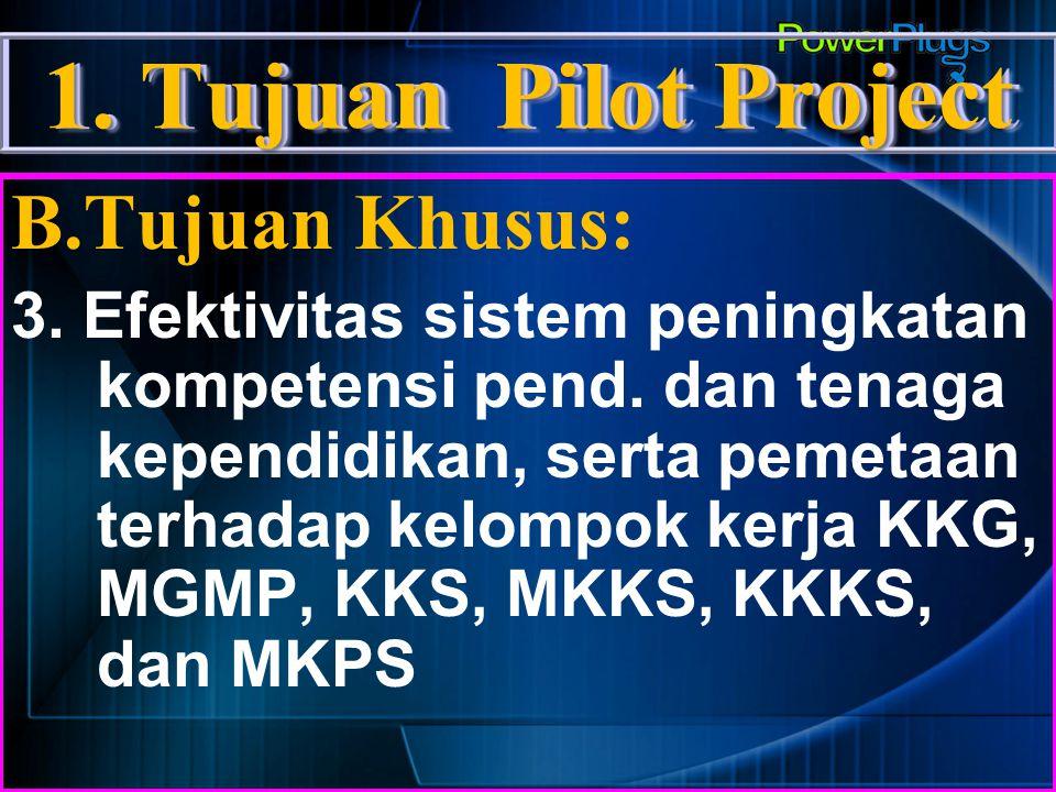1.Tujuan Pilot Project B.Tujuan Khusus: 4.