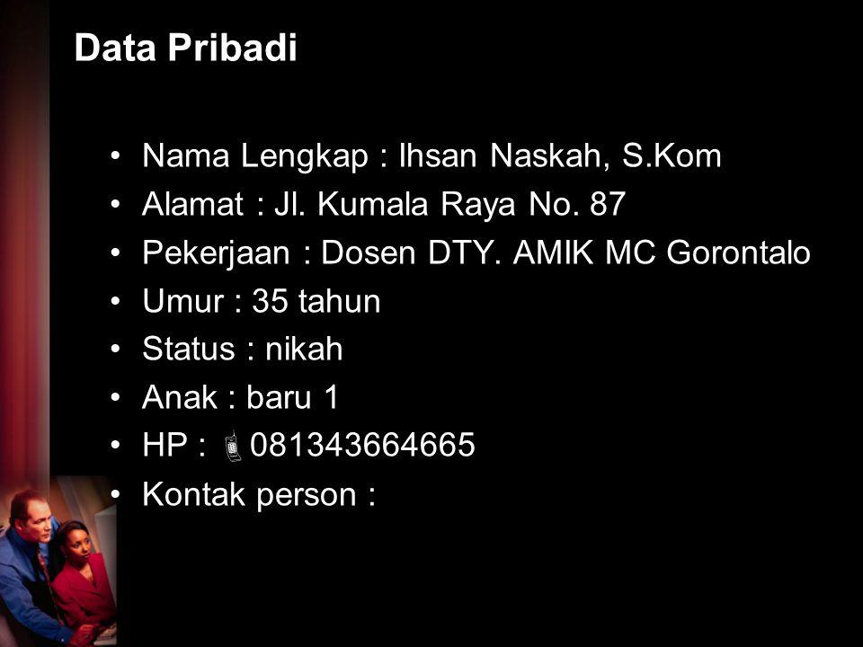 Data Pribadi Nama Lengkap : Ihsan Naskah, S.Kom Alamat : Jl. Kumala Raya No. 87 Pekerjaan : Dosen DTY. AMIK MC Gorontalo Umur : 35 tahun Status : nika