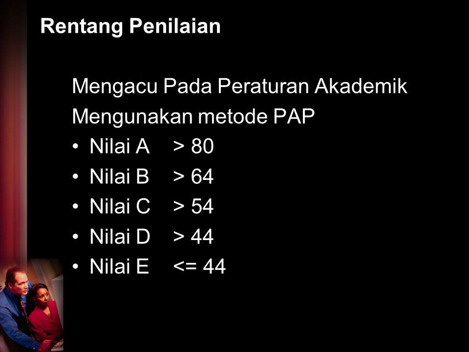 Rentang Penilaian Mengacu Pada Peraturan Akademik Mengunakan metode PAP Nilai A > 80 Nilai B> 64 Nilai C> 54 Nilai D> 44 Nilai E<= 44