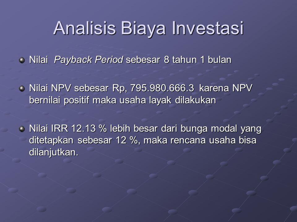 Analisis Biaya Investasi Nilai Payback Period sebesar 8 tahun 1 bulan Nilai NPV sebesar Rp, 795.980.666.3 karena NPV bernilai positif maka usaha layak