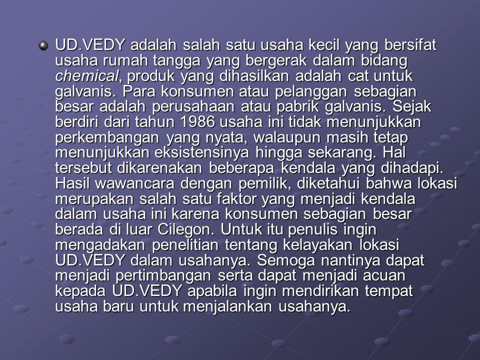 UD.VEDY adalah salah satu usaha kecil yang bersifat usaha rumah tangga yang bergerak dalam bidang chemical, produk yang dihasilkan adalah cat untuk ga