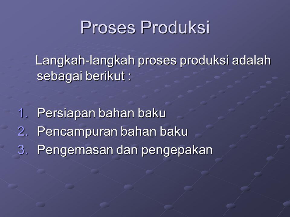 Proses Produksi Langkah-langkah proses produksi adalah sebagai berikut : Langkah-langkah proses produksi adalah sebagai berikut : 1.Persiapan bahan ba
