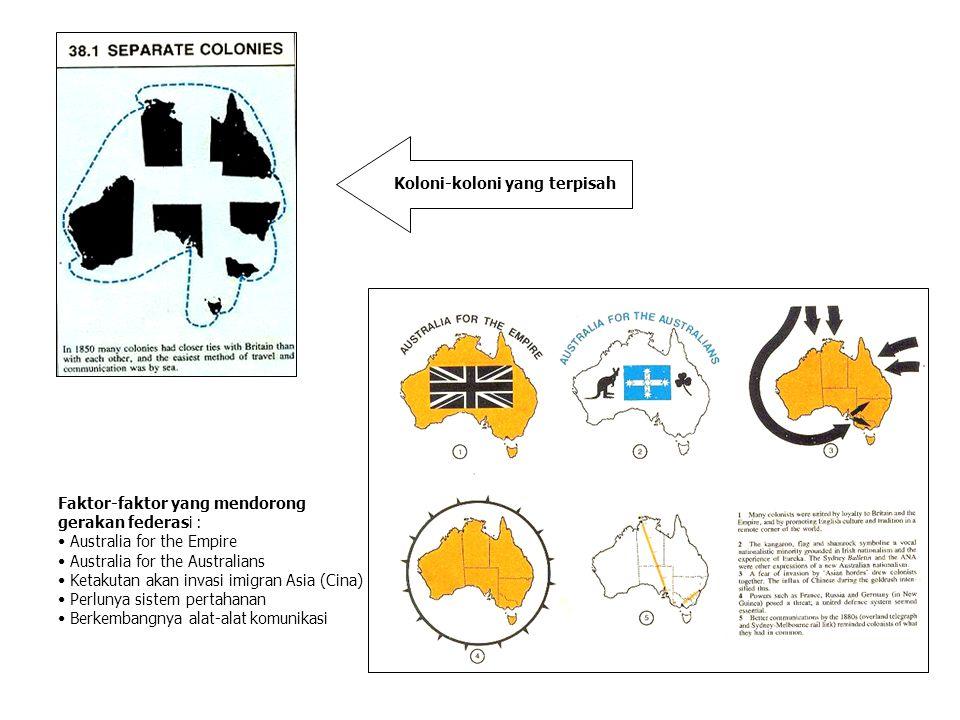 Koloni-koloni yang terpisah Faktor-faktor yang mendorong gerakan federasi : Australia for the Empire Australia for the Australians Ketakutan akan inva