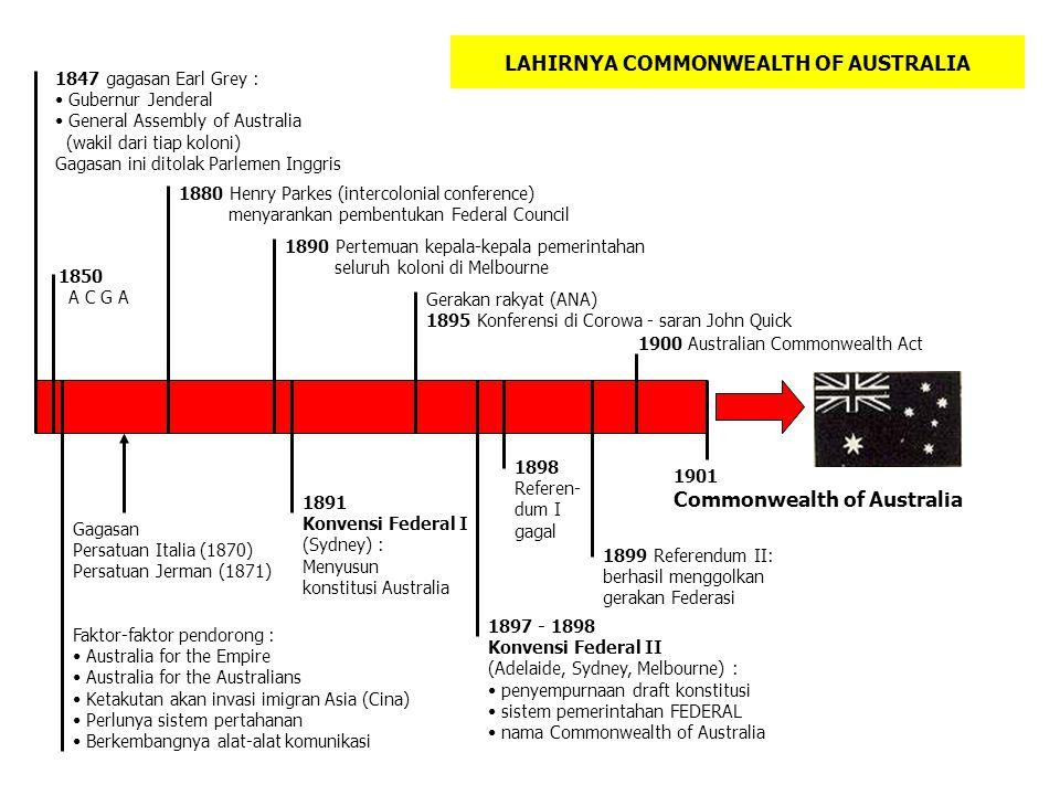 LAHIRNYA COMMONWEALTH OF AUSTRALIA 1847 gagasan Earl Grey : Gubernur Jenderal General Assembly of Australia (wakil dari tiap koloni) Gagasan ini ditol