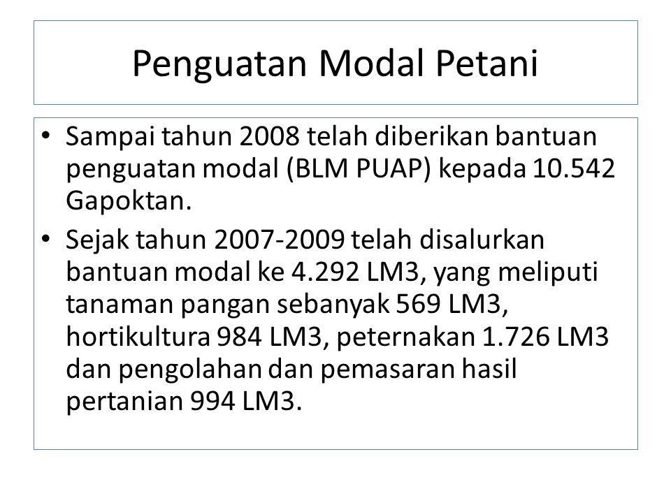Penguatan Modal Petani Sampai tahun 2008 telah diberikan bantuan penguatan modal (BLM PUAP) kepada 10.542 Gapoktan. Sejak tahun 2007-2009 telah disalu