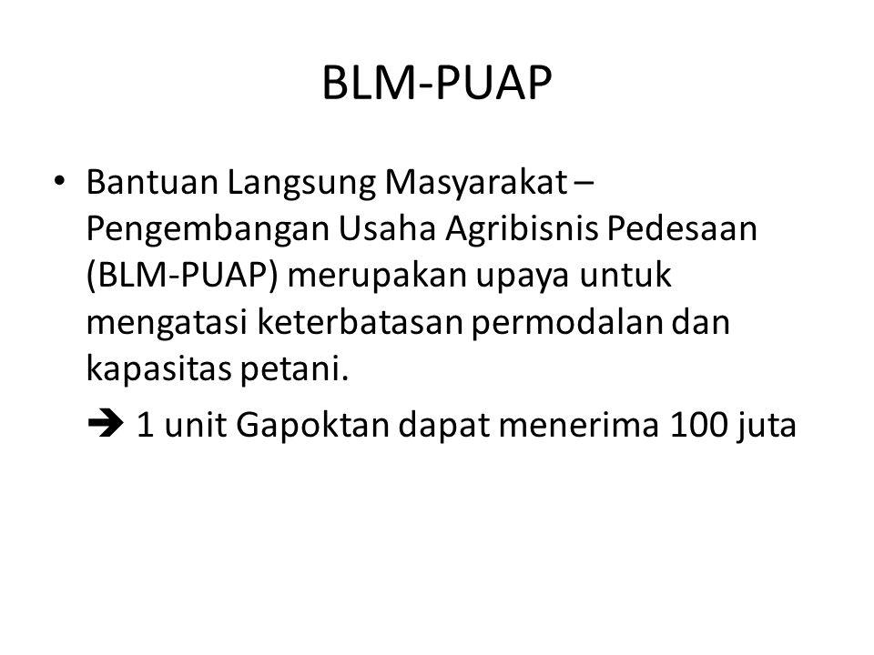 BLM-PUAP Bantuan Langsung Masyarakat – Pengembangan Usaha Agribisnis Pedesaan (BLM-PUAP) merupakan upaya untuk mengatasi keterbatasan permodalan dan k