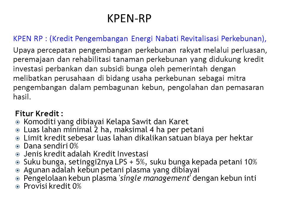 KPEN-RP KPEN RP : (Kredit Pengembangan Energi Nabati Revitalisasi Perkebunan), Upaya percepatan pengembangan perkebunan rakyat melalui perluasan, pere