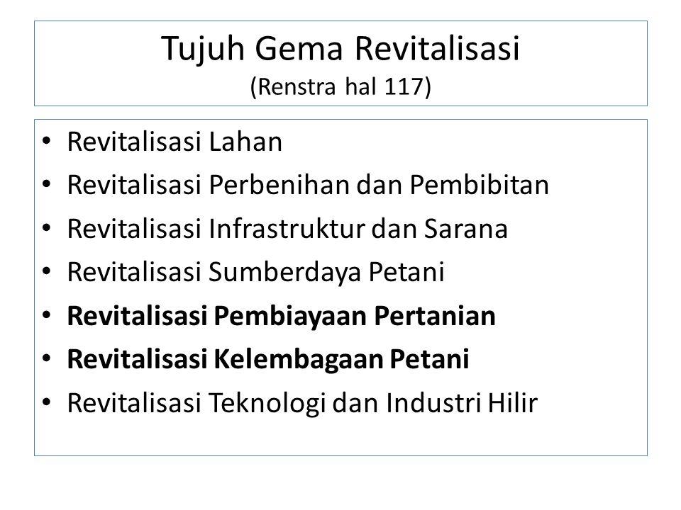 Tujuh Gema Revitalisasi (Renstra hal 117) Revitalisasi Lahan Revitalisasi Perbenihan dan Pembibitan Revitalisasi Infrastruktur dan Sarana Revitalisasi