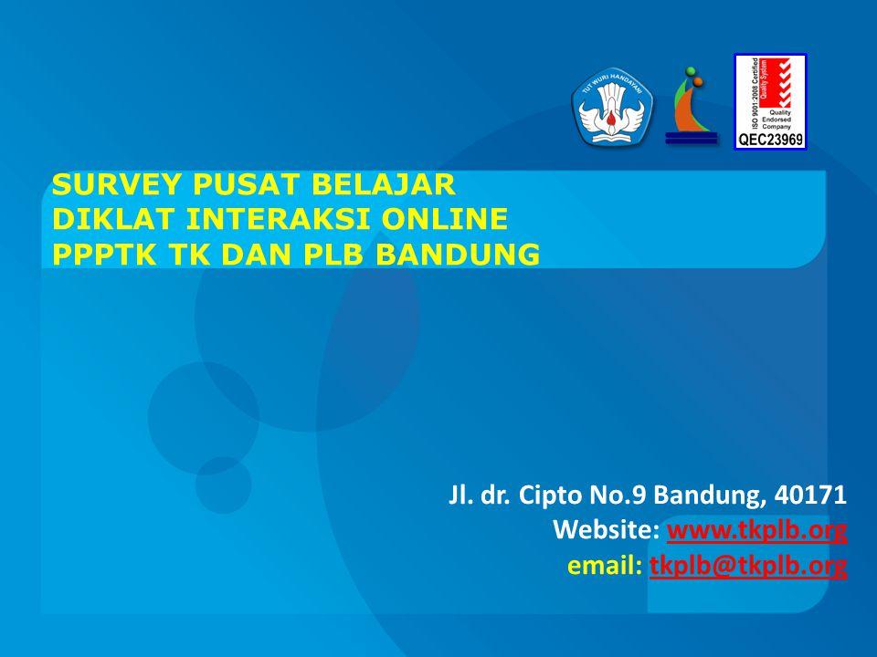 SURVEY PUSAT BELAJAR DIKLAT INTERAKSI ONLINE PPPTK TK DAN PLB BANDUNG Jl.