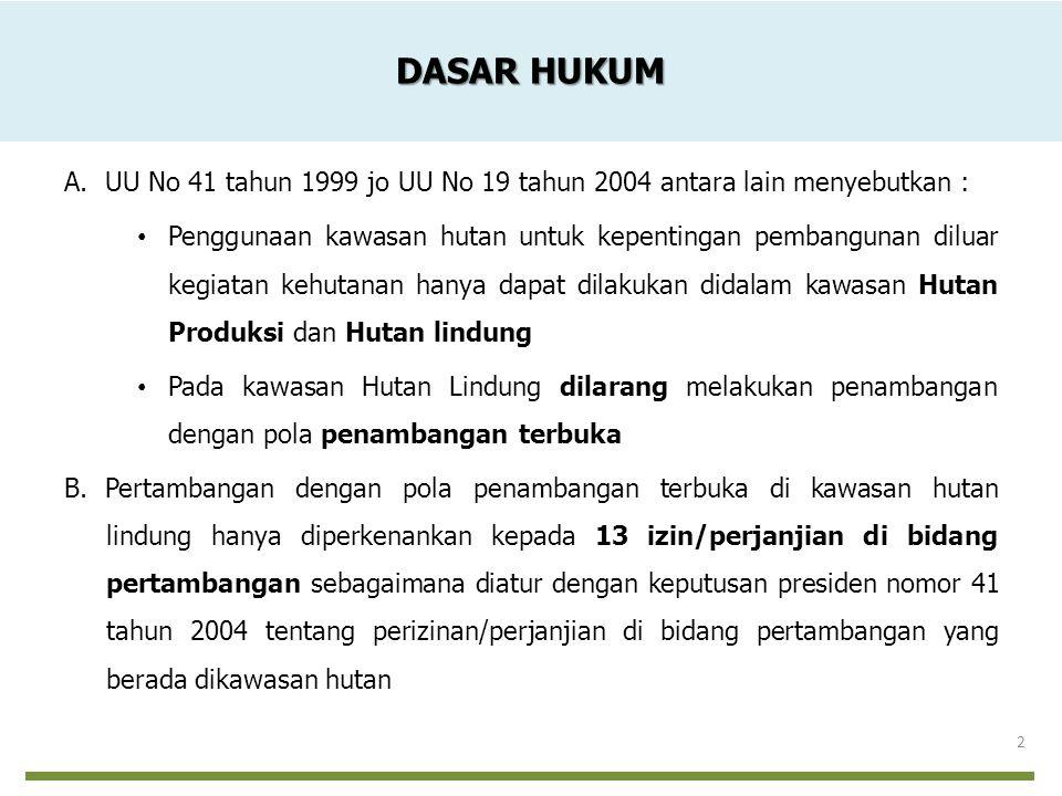 DASAR HUKUM A. UU No 41 tahun 1999 jo UU No 19 tahun 2004 antara lain menyebutkan : Penggunaan kawasan hutan untuk kepentingan pembangunan diluar kegi