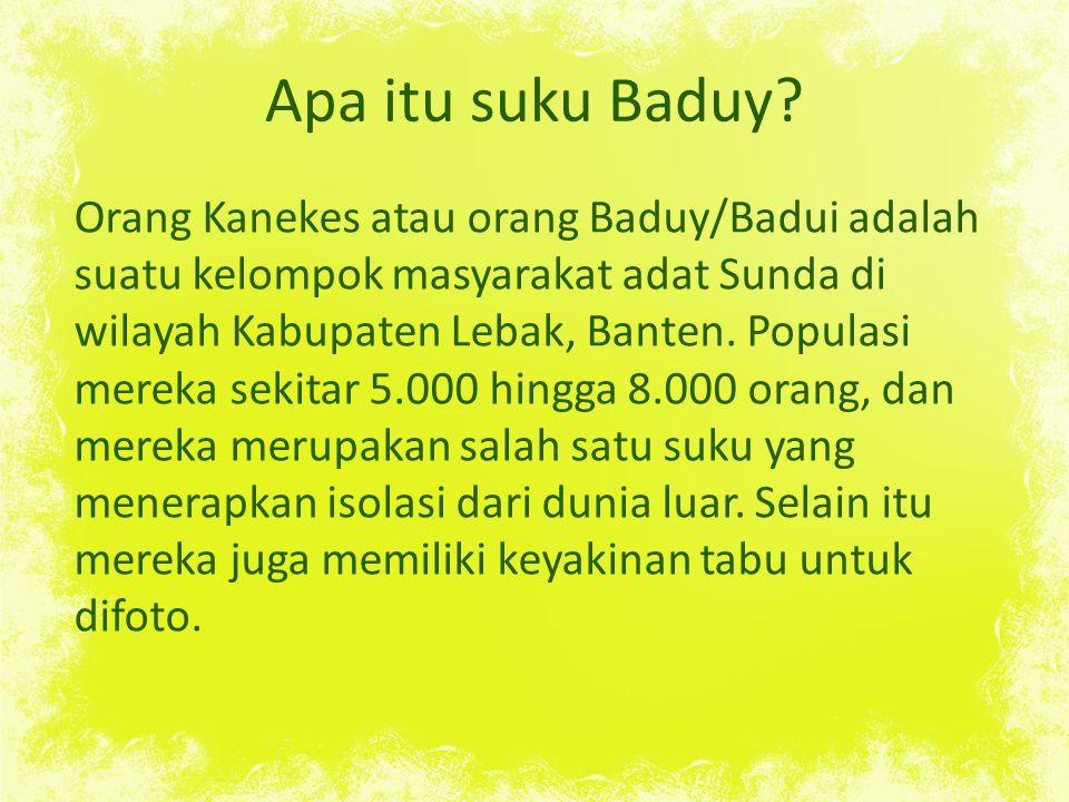 Apa itu suku Baduy.