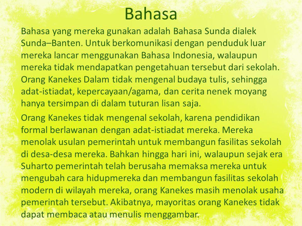 Bahasa Bahasa yang mereka gunakan adalah Bahasa Sunda dialek Sunda–Banten.