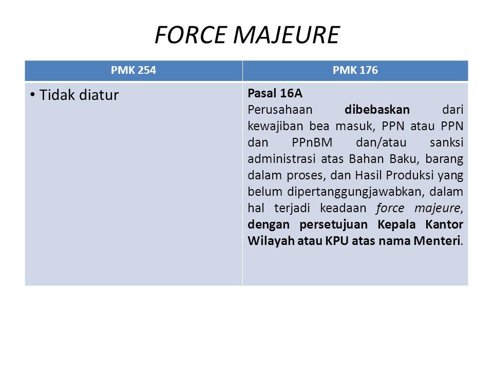 FORCE MAJEURE PMK 254PMK 176 Tidak diatur Pasal 16A Perusahaan dibebaskan dari kewajiban bea masuk, PPN atau PPN dan PPnBM dan/atau sanksi administras