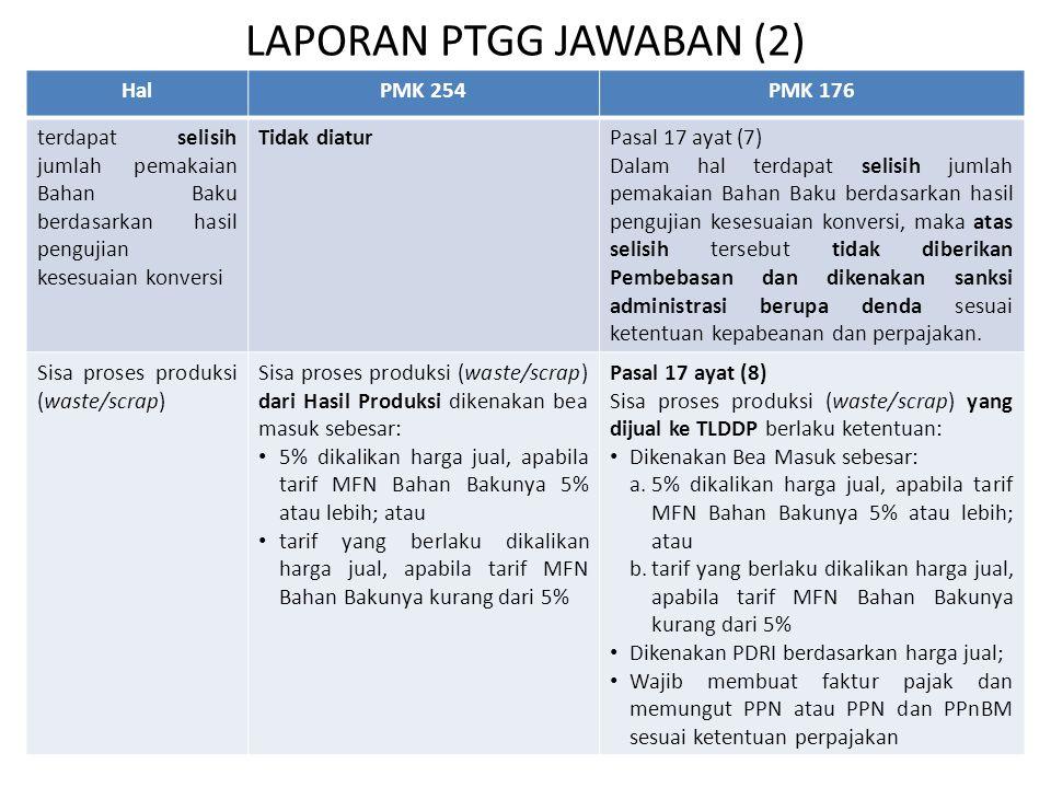 LAPORAN PTGG JAWABAN (2) HalPMK 254PMK 176 terdapat selisih jumlah pemakaian Bahan Baku berdasarkan hasil pengujian kesesuaian konversi Tidak diaturPa