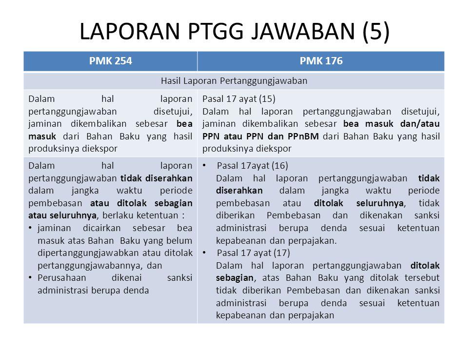LAPORAN PTGG JAWABAN (5) PMK 254PMK 176 Hasil Laporan Pertanggungjawaban Dalam hal laporan pertanggungjawaban disetujui, jaminan dikembalikan sebesar