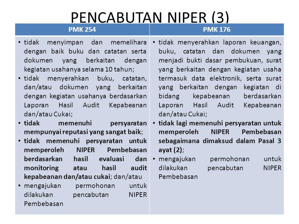 PENCABUTAN NIPER (3) PMK 254PMK 176 tidak menyimpan dan memelihara dengan baik buku dan catatan serta dokumen yang berkaitan dengan kegiatan usahanya