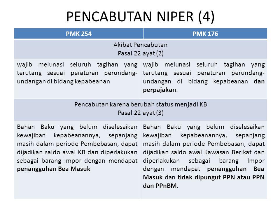 PENCABUTAN NIPER (4) PMK 254PMK 176 Akibat Pencabutan Pasal 22 ayat (2) wajib melunasi seluruh tagihan yang terutang sesuai peraturan perundang- undan