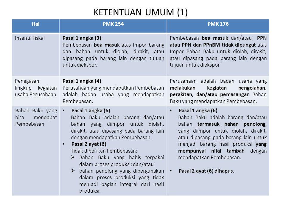 KETENTUAN UMUM (1) HalPMK 254PMK 176 Insentif fiskalPasal 1 angka (3) Pembebasan bea masuk atas Impor barang dan bahan untuk diolah, dirakit, atau dip