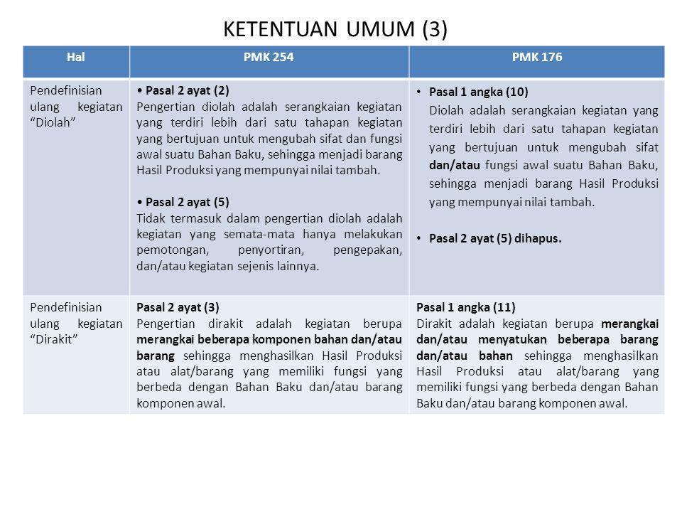 """KETENTUAN UMUM (3) HalPMK 254PMK 176 Pendefinisian ulang kegiatan """"Diolah"""" Pasal 2 ayat (2) Pengertian diolah adalah serangkaian kegiatan yang terdiri"""