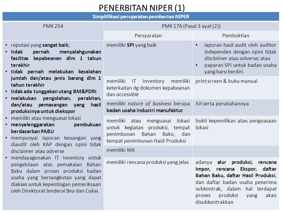 PENERBITAN NIPER (1) Simplifikasi persyaratan pemberian NIPER PMK 254PMK 176 (Pasal 3 ayat (2)) PersyaratanPembuktian reputasi yang sangat baik; tidak