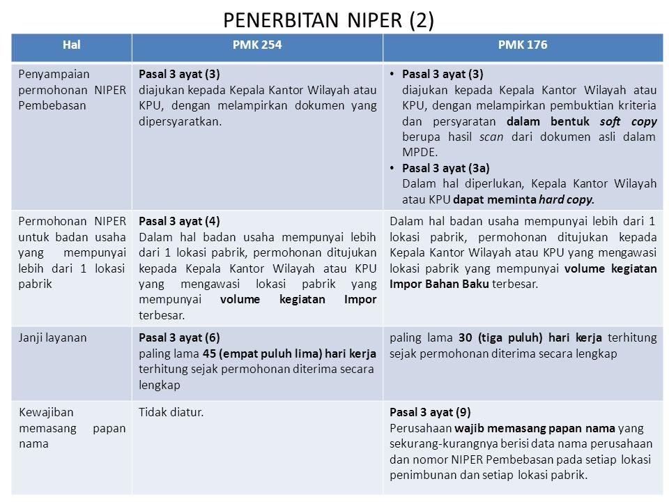 SKEP PEMBEBASAN PMK 254PMK 176 Pasal 6 Diatur ketentuan mengenai kewajiban mengajukan SKEP Pembebasan setelah Perusahaan mendapatkan NIPER Pembebasan.