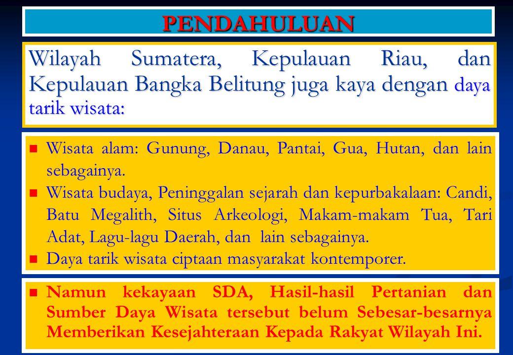 Infrastruktur belum mendukung : MASALAH Sistem Transportasi Darat di Pulau Sumatera, Kepulauan Riau, dan Kepulauan Bangka Belitung masih mengandalkan angkutan darat bermotor; Jalan Trans Sumatera semangkin meningkat menanggung beban setiap tahunnya; Transportasi regional belum terintegrasi dalam suatu Integrated Multimode – Intermode Transportation System Kapasitas pelabuhan ekspor & impor, dan perdagangan inter insuler terbatas.