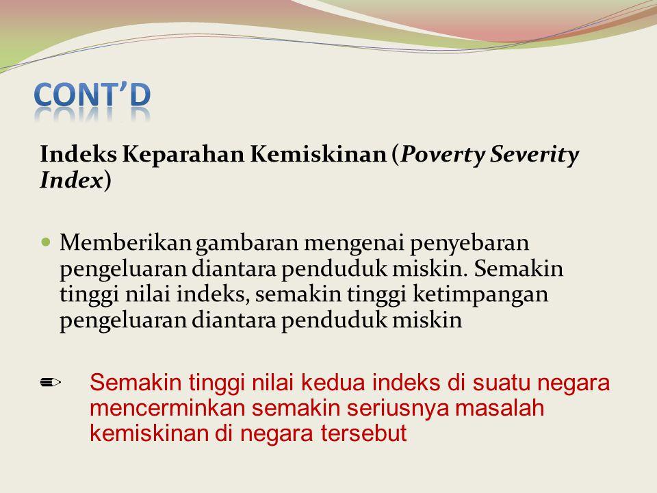 Indeks Keparahan Kemiskinan (Poverty Severity Index) Memberikan gambaran mengenai penyebaran pengeluaran diantara penduduk miskin. Semakin tinggi nila