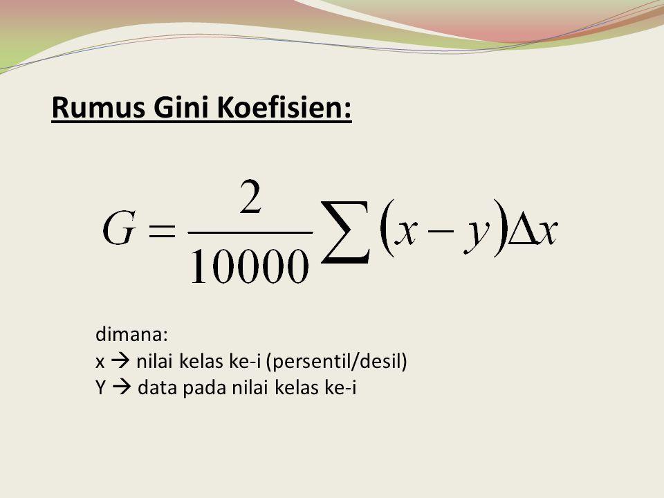 Rumus Gini Koefisien: dimana: x  nilai kelas ke-i (persentil/desil) Y  data pada nilai kelas ke-i