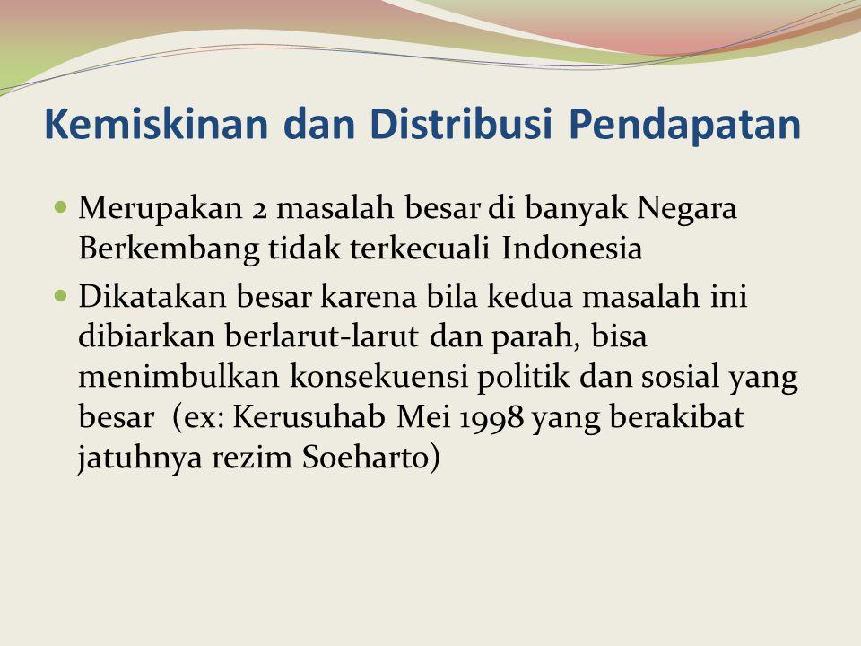 Cont'd Fokus utama dalam kebijakan dan perencanaan pembangunan Indonesia pada awal pembangunan s/d akhir 1970-an adalah pertumbuhan ekonomi yang tinggi Pembangunan ekonomi di pusatkan di Jawa (infrastruktur memadai), terpusatkan pada beberapa sektor saja yang menghasilkan nilai tambah bruto yg tinggi Trickle-down effect dari pembangunan diharapkan dpt mendorong sektor lainnya pada akhirnya