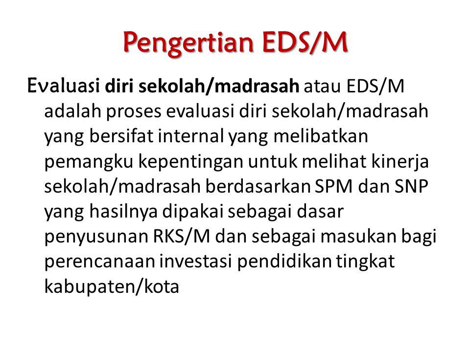 Pengertian EDS/M Evaluasi diri sekolah/madrasah atau EDS/M adalah proses evaluasi diri sekolah/madrasah yang bersifat internal yang melibatkan pemangk