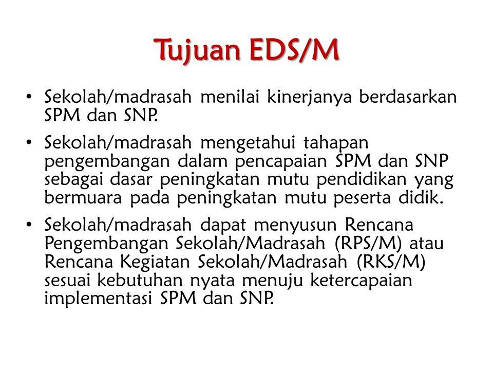 Tujuan EDS/M Sekolah/madrasah menilai kinerjanya berdasarkan SPM dan SNP. Sekolah/madrasah mengetahui tahapan pengembangan dalam pencapaian SPM dan SN