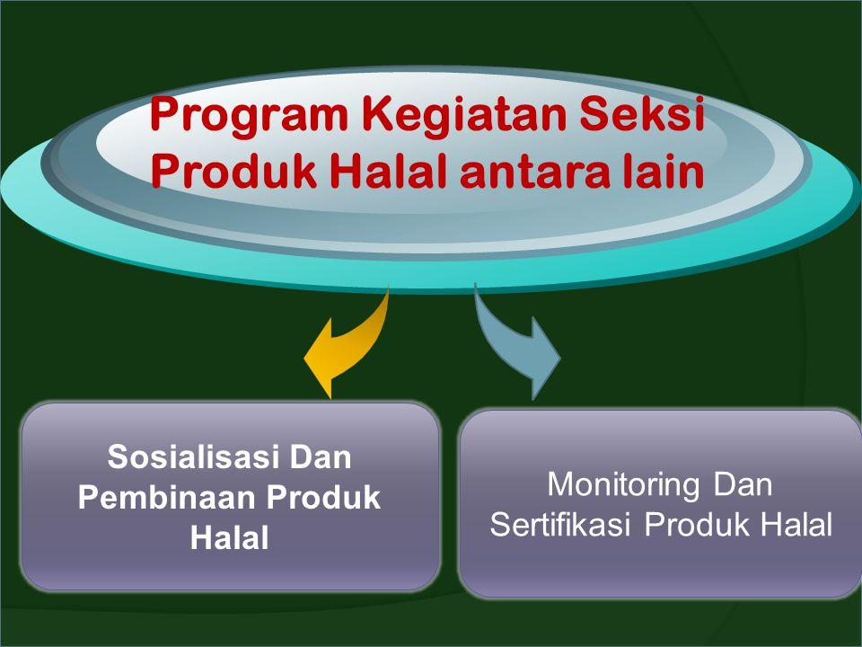 Program Kegiatan Seksi Produk Halal antara lain Sosialisasi Dan Pembinaan Produk Halal Monitoring Dan Sertifikasi Produk Halal