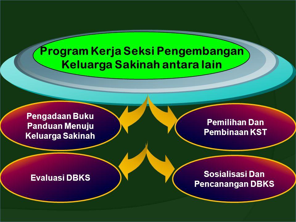 Program Kerja Seksi Pengembangan Keluarga Sakinah antara lain Pengadaan Buku Panduan Menuju Keluarga Sakinah Pemilihan Dan Pembinaan KST Evaluasi DBKS