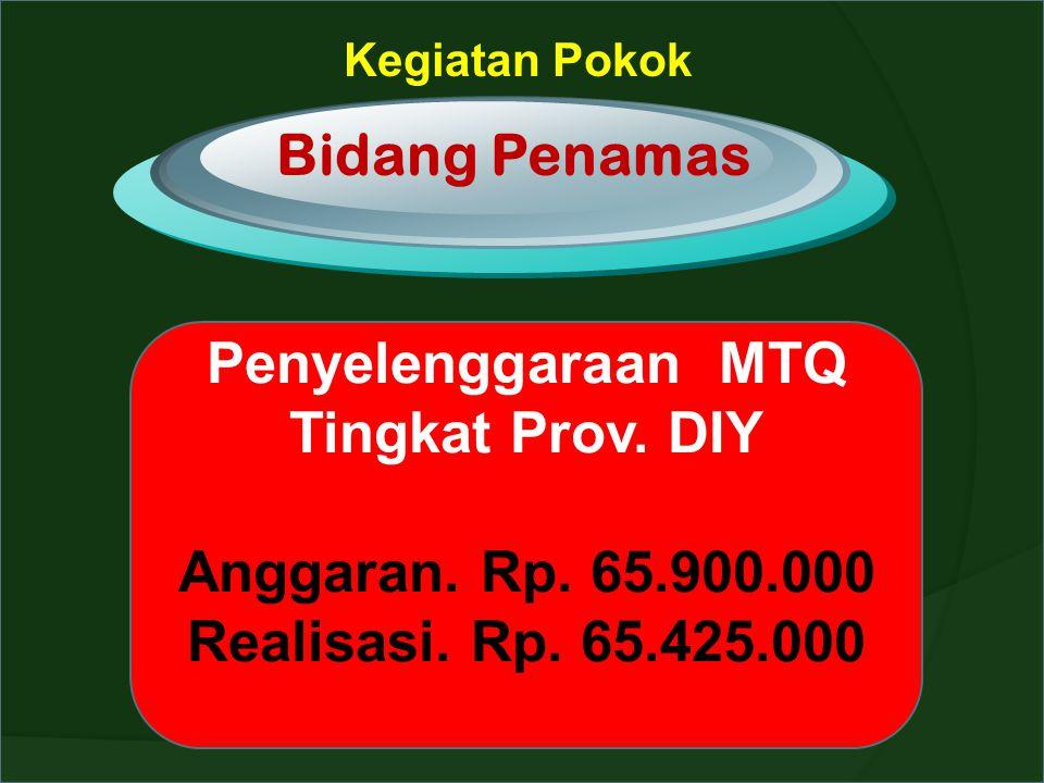Kegiatan Pokok Bidang Penamas Penyelenggaraan MTQ Tingkat Prov. DIY Anggaran. Rp. 65.900.000 Realisasi. Rp. 65.425.000