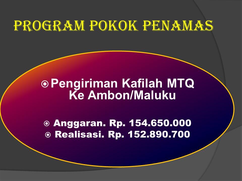 Program Pokok Penamas  Pengiriman Kafilah MTQ Ke Ambon/Maluku  Anggaran. Rp. 154.650.000  Realisasi. Rp. 152.890.700
