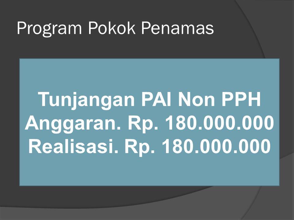 Program Pokok Penamas Tunjangan PAI Non PPH Anggaran. Rp. 180.000.000 Realisasi. Rp. 180.000.000