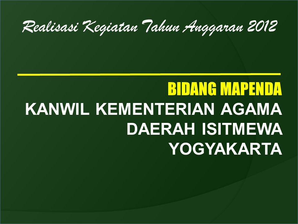 Realisasi Kegiatan Tahun Anggaran 2012 BIDANG MAPENDA KANWIL KEMENTERIAN AGAMA DAERAH ISITMEWA YOGYAKARTA