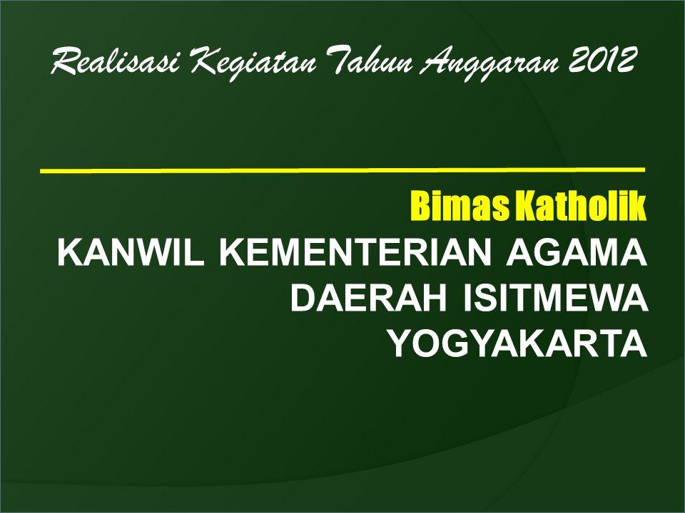 Realisasi Kegiatan Tahun Anggaran 2012 Bimas Katholik KANWIL KEMENTERIAN AGAMA DAERAH ISITMEWA YOGYAKARTA