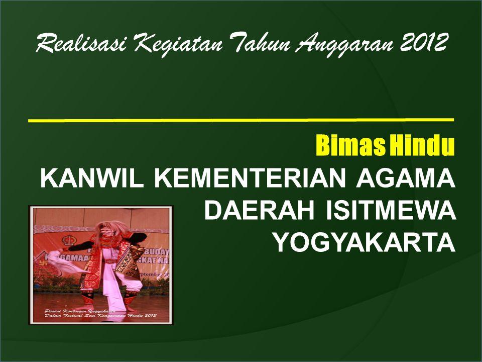Realisasi Kegiatan Tahun Anggaran 2012 Bimas Hindu KANWIL KEMENTERIAN AGAMA DAERAH ISITMEWA YOGYAKARTA