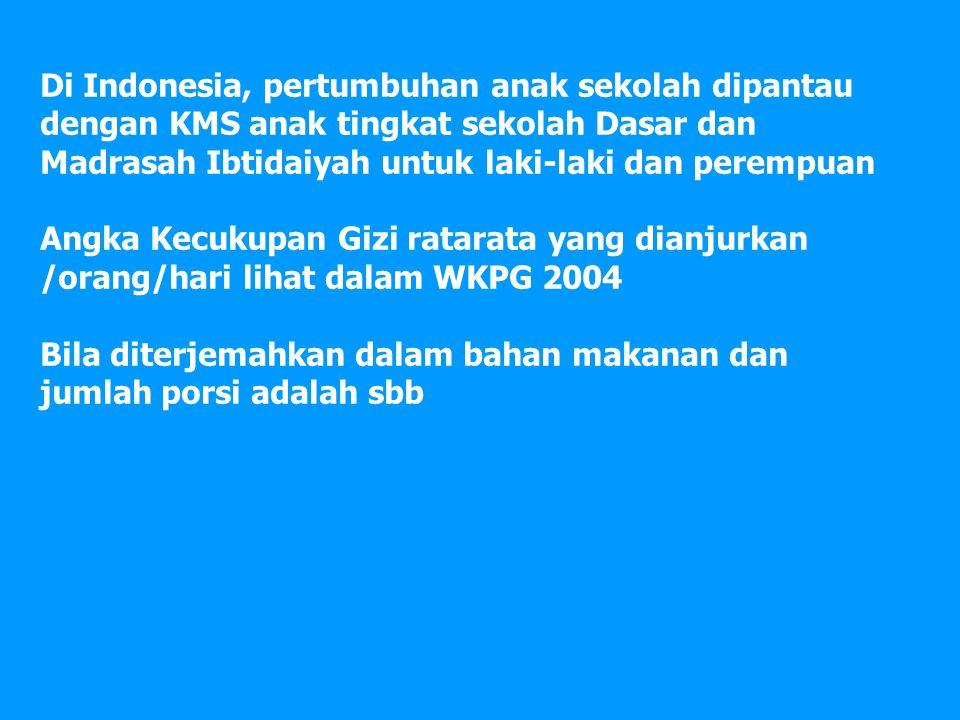 Di Indonesia, pertumbuhan anak sekolah dipantau dengan KMS anak tingkat sekolah Dasar dan Madrasah Ibtidaiyah untuk laki-laki dan perempuan Angka Kecukupan Gizi ratarata yang dianjurkan /orang/hari lihat dalam WKPG 2004 Bila diterjemahkan dalam bahan makanan dan jumlah porsi adalah sbb
