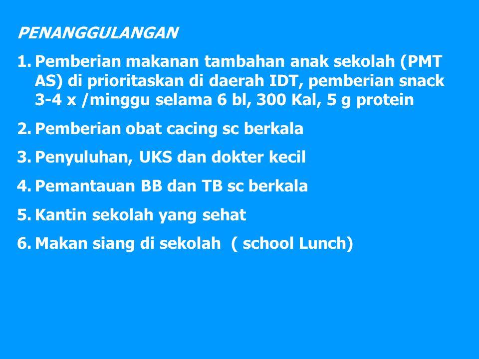 PENANGGULANGAN 1.Pemberian makanan tambahan anak sekolah (PMT AS) di prioritaskan di daerah IDT, pemberian snack 3-4 x /minggu selama 6 bl, 300 Kal, 5 g protein 2.Pemberian obat cacing sc berkala 3.Penyuluhan, UKS dan dokter kecil 4.Pemantauan BB dan TB sc berkala 5.Kantin sekolah yang sehat 6.Makan siang di sekolah ( school Lunch)