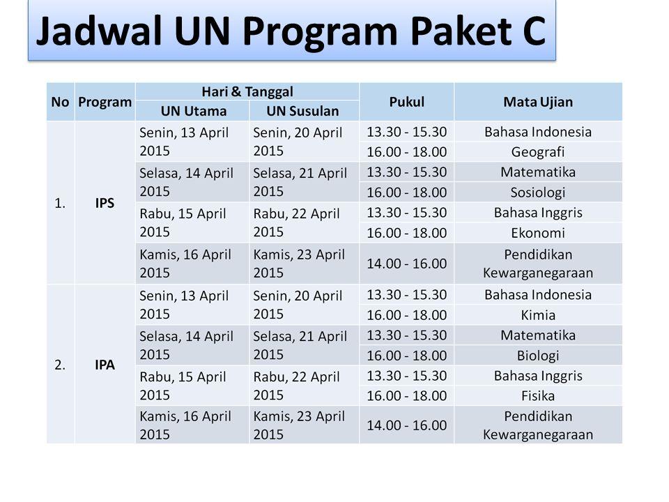 Jadwal UN Program Paket C