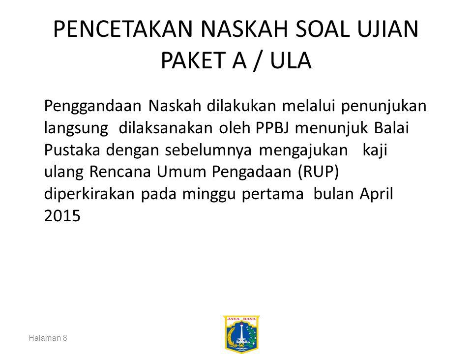 PENCETAKAN NASKAH SOAL UJIAN PAKET A / ULA Halaman 8 Penggandaan Naskah dilakukan melalui penunjukan langsung dilaksanakan oleh PPBJ menunjuk Balai Pu