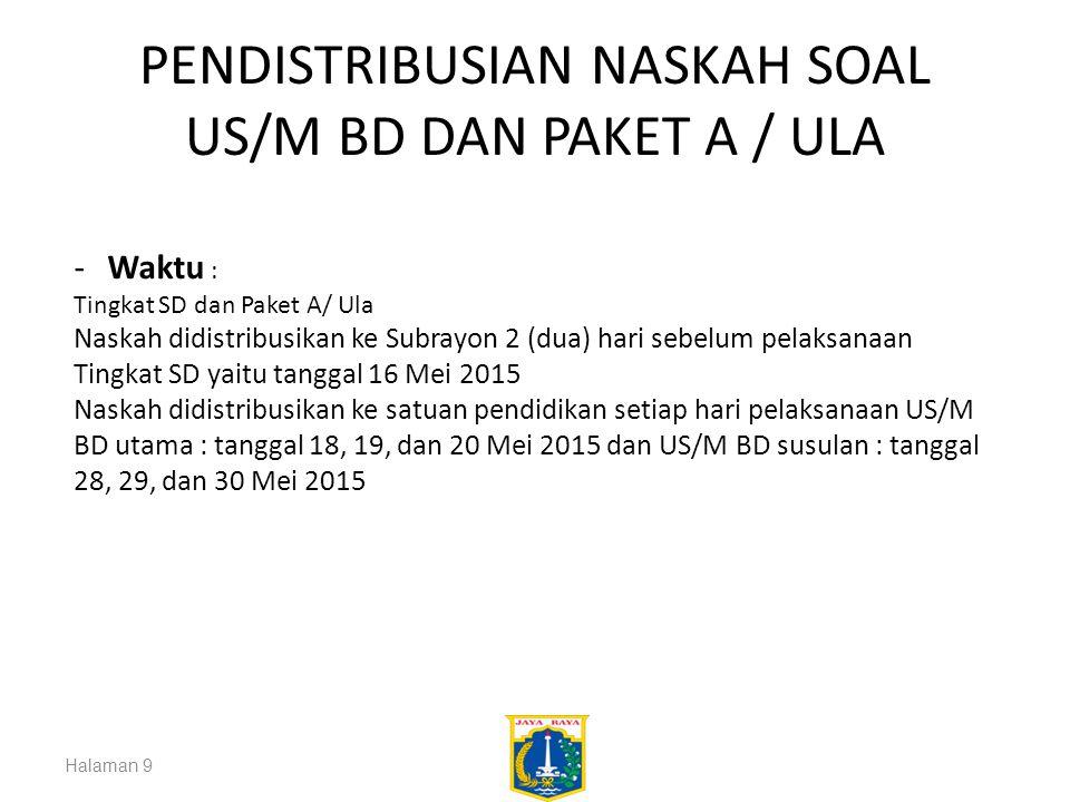 PENDISTRIBUSIAN NASKAH SOAL US/M BD DAN PAKET A / ULA Halaman 9 -Waktu : Tingkat SD dan Paket A/ Ula Naskah didistribusikan ke Subrayon 2 (dua) hari s