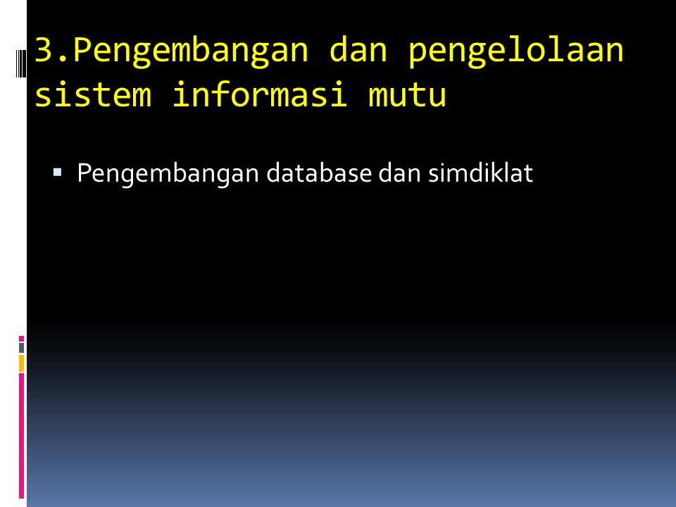 3.Pengembangan dan pengelolaan sistem informasi mutu  Pengembangan database dan simdiklat