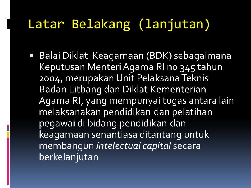 Latar Belakang (lanjutan)  Balai Diklat Keagamaan (BDK) sebagaimana Keputusan Menteri Agama RI no 345 tahun 2004, merupakan Unit Pelaksana Teknis Bad