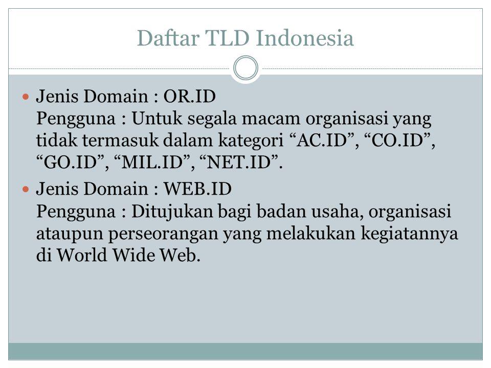 """Daftar TLD Indonesia Jenis Domain : OR.ID Pengguna : Untuk segala macam organisasi yang tidak termasuk dalam kategori """"AC.ID"""", """"CO.ID"""", """"GO.ID"""", """"MIL."""