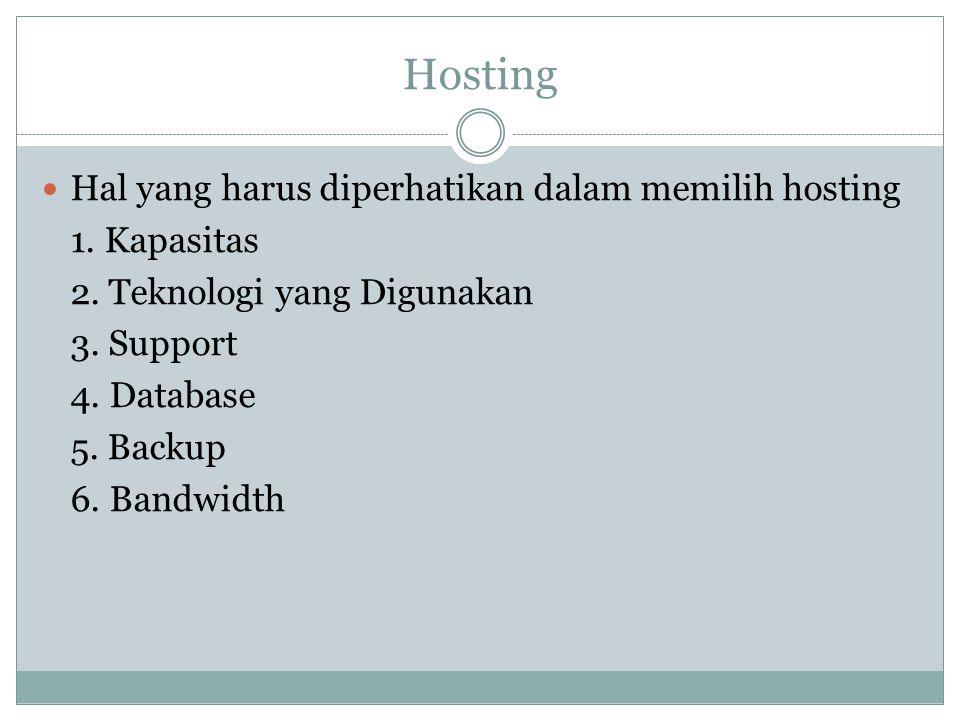 Hosting Hal yang harus diperhatikan dalam memilih hosting 1. Kapasitas 2. Teknologi yang Digunakan 3. Support 4. Database 5. Backup 6. Bandwidth