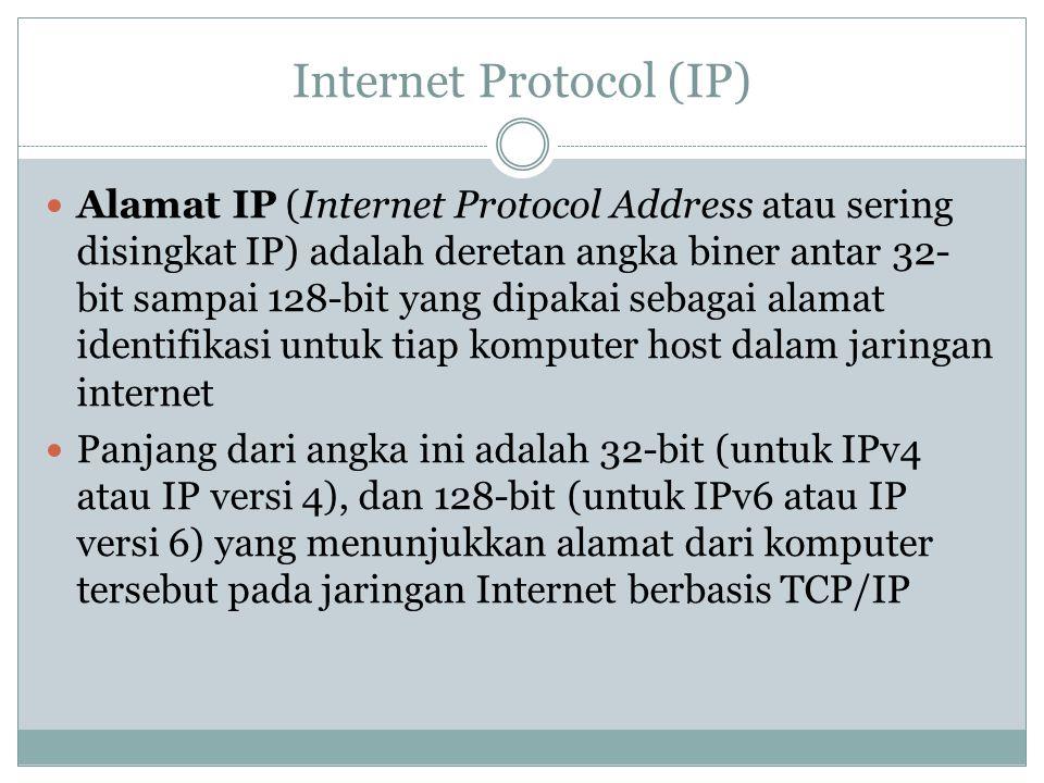 Internet Protocol (IP) Alamat IP (Internet Protocol Address atau sering disingkat IP) adalah deretan angka biner antar 32- bit sampai 128-bit yang dipakai sebagai alamat identifikasi untuk tiap komputer host dalam jaringan internet Panjang dari angka ini adalah 32-bit (untuk IPv4 atau IP versi 4), dan 128-bit (untuk IPv6 atau IP versi 6) yang menunjukkan alamat dari komputer tersebut pada jaringan Internet berbasis TCP/IP