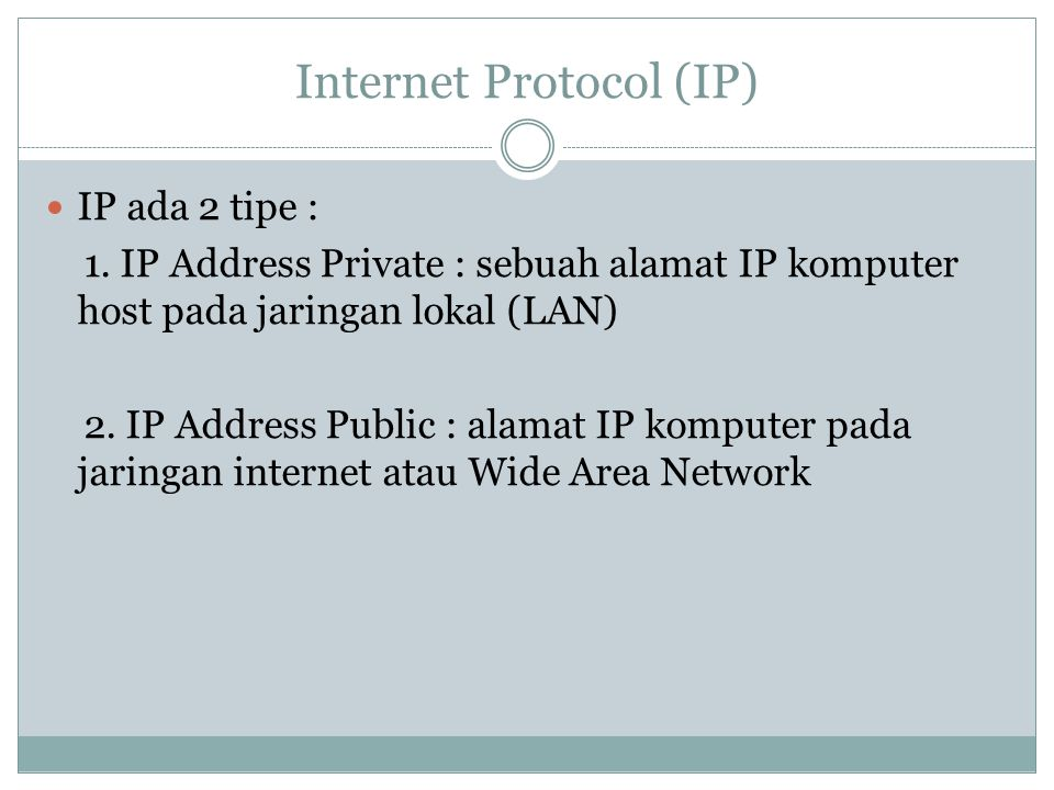 Domain Domain = nama unik untuk mengidentifikasi nama server komputer pengguna internet dapat mengakses server dengan mudah tanpa harus menghapal IP yang terdiri dari deretan angka yang panjang Setiap domain memiliki Top Level Domain (TLD)